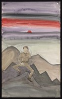 view A shell-shocked man in a uniform of the British Army seated on a rock, with a sunset behind, about to kill himself. Watercolour by M. Bishop, 1973.