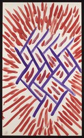 view Red darts with purple Y-shapes. Watercolour by M. Bishop, 1970.