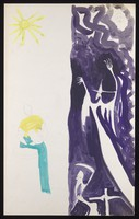 view Sunshine (left): a woman with a jug; darkness (right): a witch with time and death. Watercolour by M. Bishop, 1971.