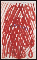 view A red excrescence surrounded by red ovals overlaid by a red grid, with blue dots. Watercolour by M. Bishop, ca. 1970.