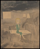 view A woman wearing a green dress seated on a bed in a gloomy institution; a washing line behind. Watercolour by M. Bishop, 1958.