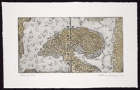 view Data present around the mind but receding to the margins; representing loss of memory. Coloured etching by Anthony Whishaw, 1997.