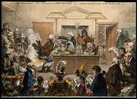 view A lecture on pneumatics at the Royal Institution, London. Coloured etching by J. Gillray, 1802.