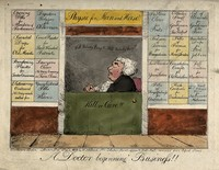 view A new apothecary's shop open for business, with parody advertisements for different potions; representing the remedies required for different professions and social types. Coloured etching after G.M. Woodward, 1802.