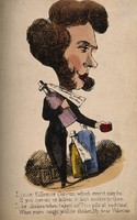 view A quack doctor irresponsibly dispensing his potions. Coloured lithograph.