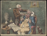 "view An operator treating the carbuncled nose of an obese patient with ""Perkins's tractors"". Coloured aquatint after J. Gillray, 1801."