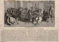 view A large gathering of patients and assistants to Mesmer's animal magnetism therapy, showing use of the special tub at his clinic. Wood engraving by H. Thiriat.