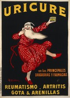 """view An old man in night-clothes holding up a box of """"Uricure"""" pills as an advertisement for their efficacy against rheumatic diseases. Coloured lithograph by L. Cappiello, ca. 1910."""
