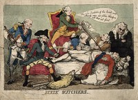 view William Pitt the younger and his ministers as anatomists dissecting the body of the Prince of Wales; representing Pitt's reduction of the powers of the regent. Coloured etching by Thomas Rowlandson, 1788/1789.