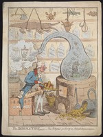 view William Pitt the younger as an alchemist using a crown-shaped bellows to blow the flames of a furnace and heat a glass vessel in which the House of Commons is distilled; representing the dissolution of parliament by Pitt. Coloured etching by J. Gillray, 1796.