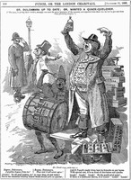 view A quack doctor selling his remedies on the streets of London - despite objections. Wood engraving by E.L. Sambourne, 1893.