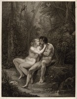 view Adam and Eve in the garden of Eden. Stipple engraving by F. Bartolozzi after T. Stothard, 1792.