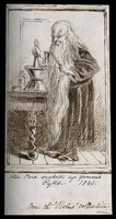 view Old Parr, an elderly apothecary with an extremely long beard mixing a concoction with a pestle and mortar. Pen drawing by Matthews(?), 1861(?).