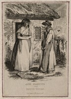view Anne Manning, a quack doctor, outside her cottage with Betty Upton. Etching, by W.J. White, 1818, after himself.