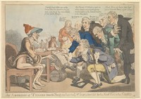 view Physicians expressing their thanks to influenza. Coloured etching attributed to Temple West, 1803.