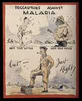 view Advice to British soldiers about malaria. Coloured pen drawing by Copp, ca. 1944.