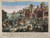 view The fifth plague of Egypt, cattle dying. Coloured etching.