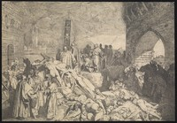 view The plague of Florence, 1348; an episode in the Decameron by Boccaccio. Etching by L. Sabatelli the elder after G. Boccaccio.