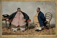 view A humorous comparison between the obese Daniel Lambert and Charles James Fox, the politician. Coloured etching by C. Williams, 1806.