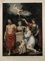 view Carolus Linnaeus receives honour from Aesculapius, Flora, Ceres and Cupid. Coloured stipple engraving by J. Caldwall, 1806, after J. Russell and J. Opie.