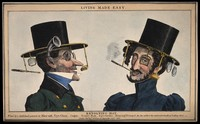 view Two men wearing revolving top hats with several attachments for optical aids and tobacco etc. Coloured etching by R. Seymour, 1830.