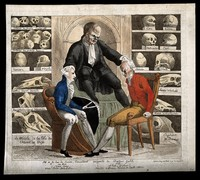 view In a room filled with skulls of the famous, the phrenologist Gall examines William Pitt the Younger and Gustavus IV, the King of Sweden, both currently plagued by Napoleon. Coloured etching, 1806.