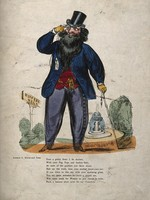 view A bearded dandy admiring the ladies through his monocle on 'Buffers Walk' in the public gardens. Coloured wood engraving by W.H. Harrison.