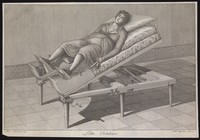 view A pregnant woman on an obstetrical bed. Line engraving by G.B. Cipriani after S. Clementi.