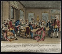 view Patients in Paris receiving Mesmer's animal magnetism therapy. Coloured etching after C-L. Desrais.