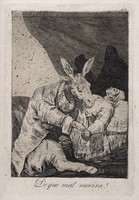 view A donkey as a physician taking the pulse of a dying man. Aquatint with etching by F. Goya, ca. 1797.
