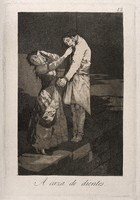 view A woman covers her eyes as she steals the teeth of a hanged man. Aquatint with etching by F. Goya, ca. 1797.