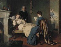 view A girl reads to a convalescent while a nurse brings in the patient's medicine. Watercolour by R.H. Giles.