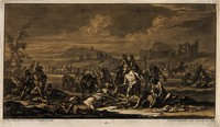 view Treating the wounded after a battle. Tinted mezzotint by J.C. Rugendas, 17--, after G.P. Rugendas the elder, 1695.