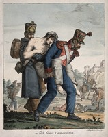 view Two soldiers carrying a wounded comrade off the battlefield. Coloured lithograph after J.H. Marlet, 1817.