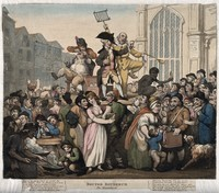 view Doctor Botherum, an itinerant medicine vendor (perhaps based on Doctor Bossy) selling his wares on stage with the aid of assistants to a raucous crowd. Coloured etching by T. Rowlandson, 1800.