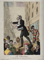 view A theatrical itinerant medicine vendor selling his wares on stage to a crowd, assisted by an elaborately dressed man and an owl. Coloured etching.