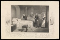 view Crimean War: Florence Nightingale at the Scutari Hospital. Line engraving by G. Greatbach after J. Hind.