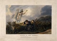 view Crimean War: a guardian angel appearing to a widow mourning the death of her husband on the battlefield. Coloured aquatint by J. Harris, 1856, after O. Norie and W. Bullock Webster.