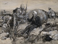 view Boer Wars: British soldiers bringing first aid to wounded Boers. Watercolour by W. Hatherell, 1901.