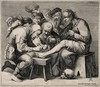 An operator treating a patient's foot; a crowd of people is gathered around watching the work. Line engraving by P. Quast.