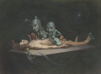view An unconscious naked man lying on a table being attacked by little demons armed with surgical instruments; representing the effects of chloroform on the human body. Watercolour by R. Cooper.