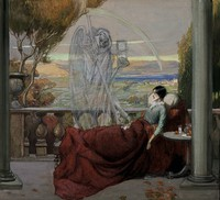 view A sickly young woman sits covered up on a balcony; death (a ghostly skeleton clutching a scythe and an hourglass) is standing next to her; representing tuberculosis. Watercolour by R. Cooper, ca. 1912.