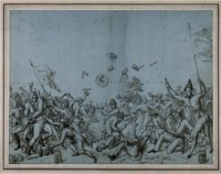 view A fierce battle between the supporters of John Brown (Bruno), in favour of treatment with stimulants, and those of F.J.V. Broussais, in favour of bloodletting. Pen drawing.