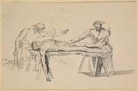 view Two men studying a corpse by the light of a candle stuck in its chest. Etching after a drawing attributed to Polidoro Caldara (Polidoro da Caravaggio).