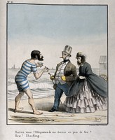view A bearded man in a bathing-costume requests a light fo rhis cigar from a fully-dressed British couple walking on the beach at Ostend: they are shocked. Coloured lithograph by A. Bry, c. 1850.