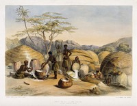 view South Africa: Zulu women brewing beer. Coloured lithograph by G.F. Angas, 1849.