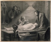 view The dissection of a young, beautiful woman directed by J. Ch. G. Lucae (1814-1885) in order to determine the ideal female proportions. Chalk drawing by J. H. Hasselhorst, 1864.