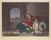 view A wealthy Afghan lady reclining and smoking a hooka. Coloured lithograph by R. Carrick, c. 1848, after J. Rattray.
