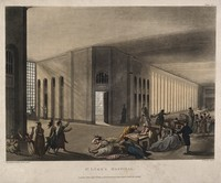 view St Luke's Hospital, Cripplegate, London: the interior of the women's ward, with many inmates and a member of staff. Coloured aquatint by J.C. Stadler after A.C. Pugin and T. Rowlandson, 1809.