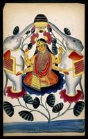 view Lakshmi lustrated by two elephants. Watercolour, 18--.